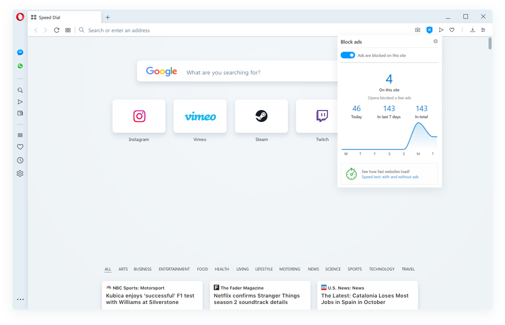 New ad blocker - Built into the Opera browser. No add-ons. More browsing speed.