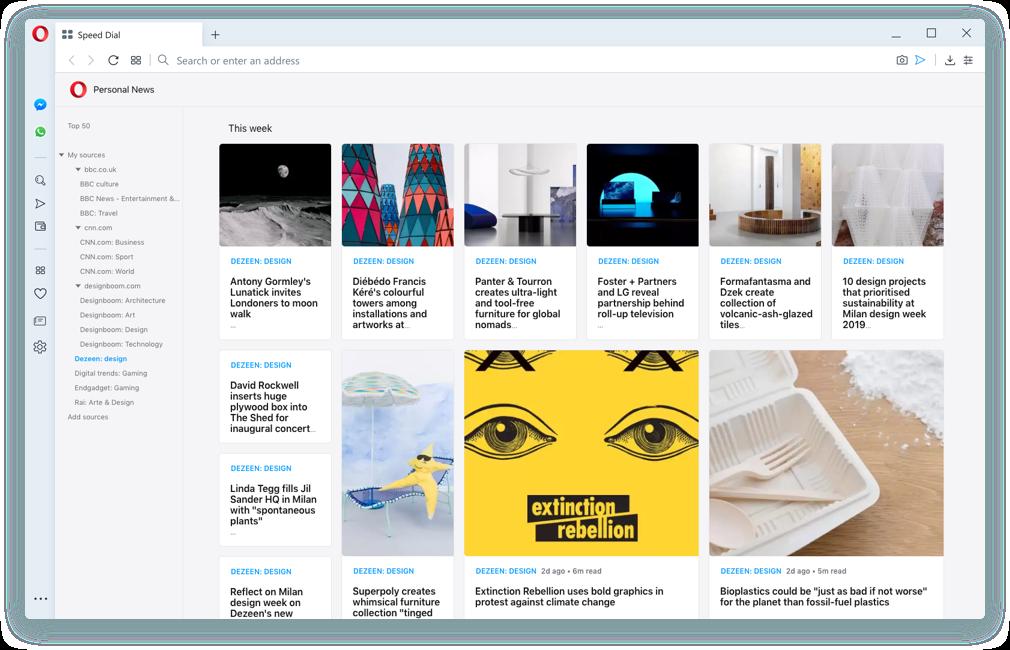Lector de noticias en el navegador Opera: Consigue tus titulares personalizados