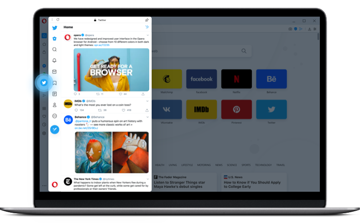 Twitter built into the Opera browser