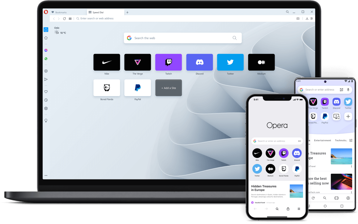 Easily switch browsers to Opera