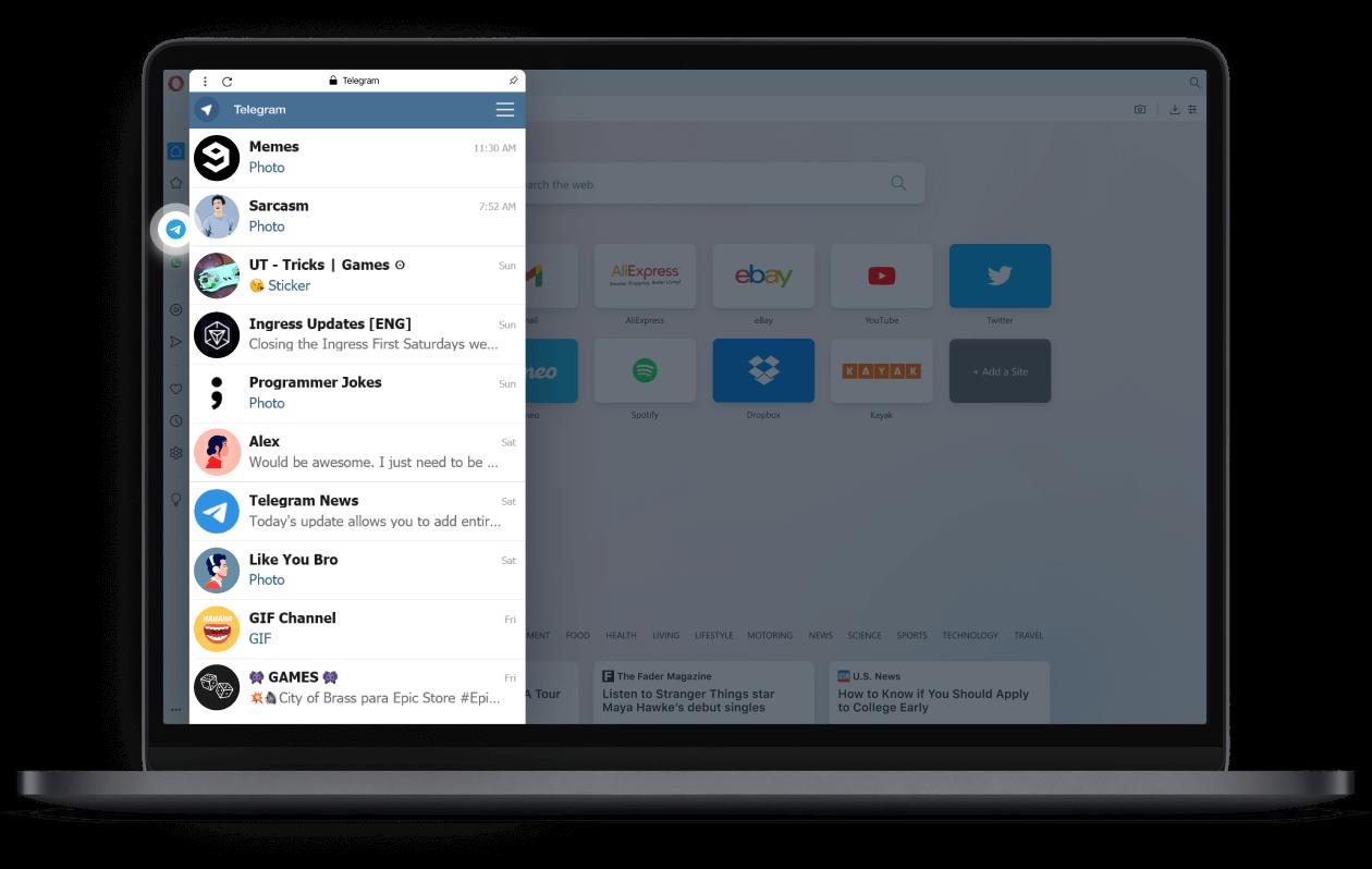Telegram dans la barre latérale d'Opera