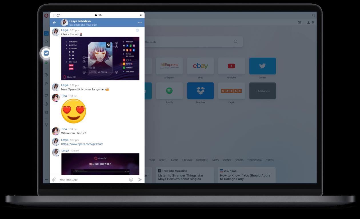 VKontakte dans la barre latérale d'Opera